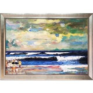 Winslow Homer 'On the Beach' Hand-painted Framed Canvas Art