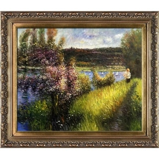 Pierre Auguste-Renoir 'The Seine at Chatou Hand' Painted Framed Canvas Art