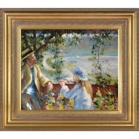 Pierre Auguste-Renoir 'Near the Lake;' Hand Painted Framed Canvas Art