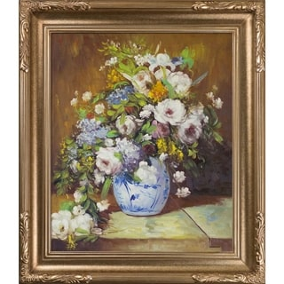 Pierre Auguste-Renoir 'Grande Vase Di Fiori' Hand Painted Framed Canvas Art