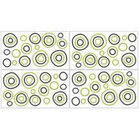 Sweet Jojo Designs Green, Black and White Spirodot Polka Dot Peel and Stick Wall Decal Stickers Art Nursery Decor (Set of 4)