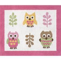 Sweet Jojo Designs Pink Happy Owl Accent Floor Rug