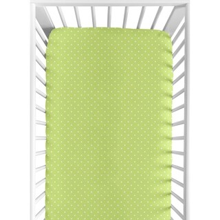 Sweet Jojo Designs Fitted Crib Sheet in Lime Mini Dot