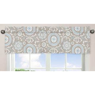 Sweet Jojo Designs Spa Blue, Taupe and White 54-inch x 15-inch Window Treatment Curtain Valance for Blue and