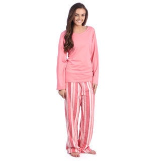 Aegean Apparel Solid Pink Knit Long Sleeve Top & Multi Pink Stripe Printed Plush Pant PJ Set