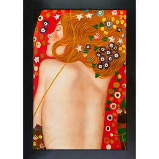 Gustav Klimt Sea Serpents IV (modest) Hand Painted Framed Canvas Art