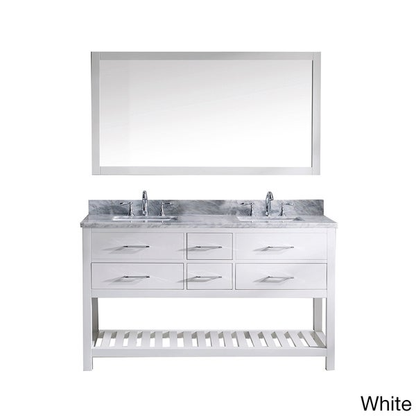 Virtu USA Caroline Estate White Carrera Marble Square Double Sink Bathroom Vanity and Mirror