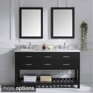 Virtu USA Caroline Estate Italian Carrara White Marble Double Sink Bathroom Vanity
