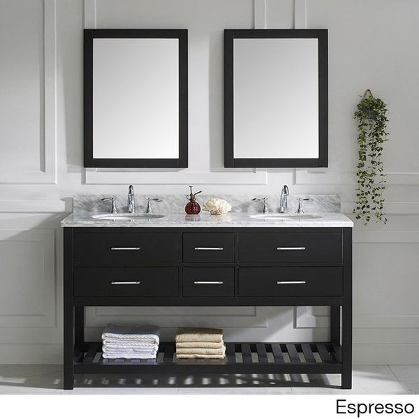 Virtu usa caroline estate round double sink bathroom Italian carrara white marble countertop