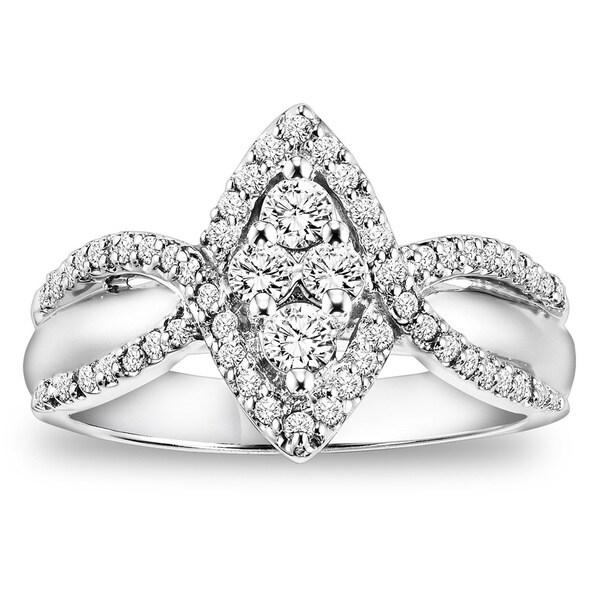 Cambridge 14K White Gold 1/2ct TDW Marquise Diamond Ring