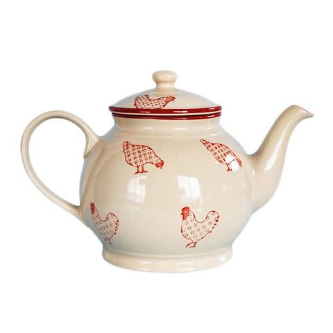 Barnyard Style Red/ Cream Tea/ Coffee Pot