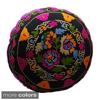 Handmade Hand-embroidered Bouquet Design Round Floor Pillow (India)