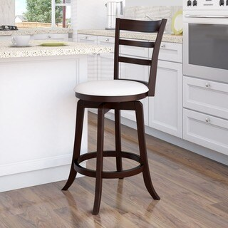 CorLiving Espresso and White Leatherette Counter Height Barstool