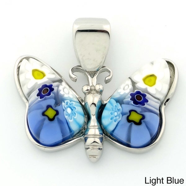 Plutus Sterling Silver Millefiori Glass Butterfly Pendant