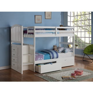 Donco Kids Arch Mission Stairway White Twin Bunk Bed with Underbed Drawers