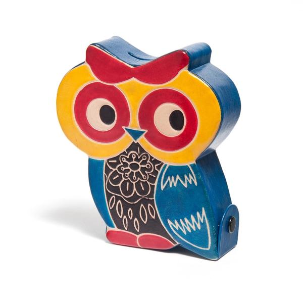 Handmade Leather Owl Piggy Bank (India)