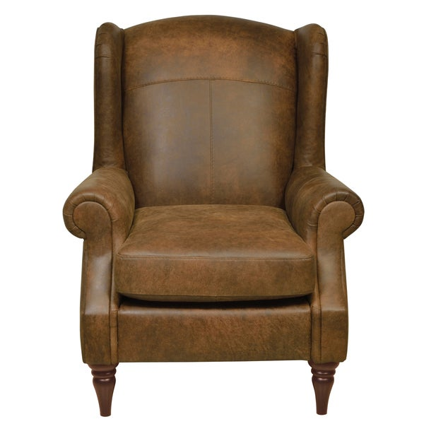 Shop Antique Brown Italian Leather Wing Back Chair Free