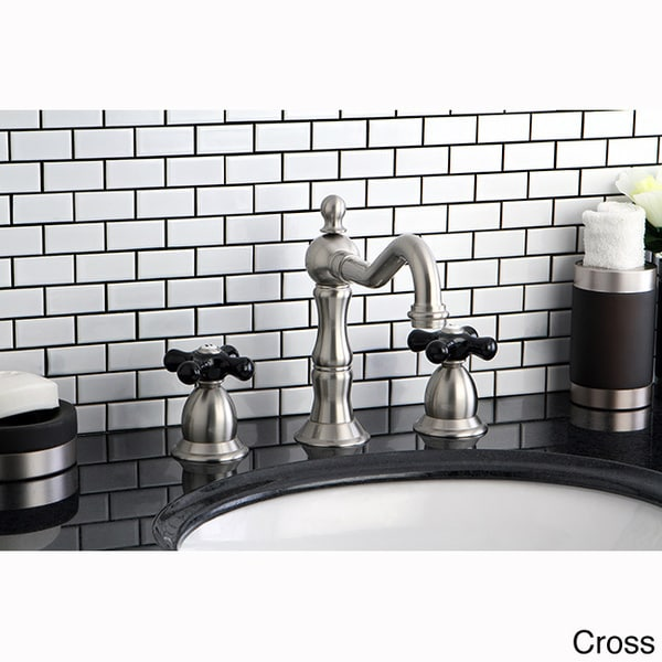 Satin Nickel And Black Widespread Bathroom Faucet   Free Shipping Today    Overstock.com   15875230