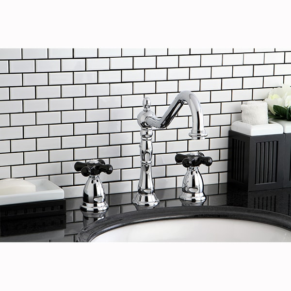 Shop Victorian Chrome Black Widespread Bathroom Faucet Free