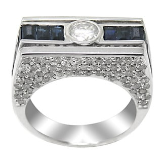 De Buman 14k White Gold Sapphire and 1 1/2ct TDW Diamond Ring (H-I, I1-I2) (Size 7)