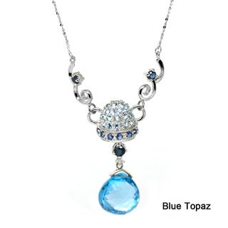 De Buman 10k White Gold Blue Topaz, Citrine, Tea Quartz or Amethyst Gemstone with Diamond Accent Necklace