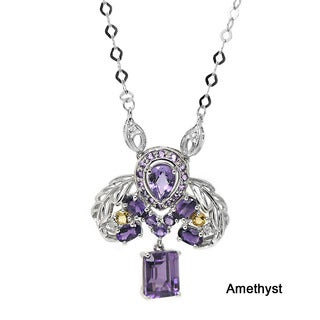 De Buman 10k White Gold Tourmaline, Citrine or Amethyst Gemstone with Diamond Accent Necklace