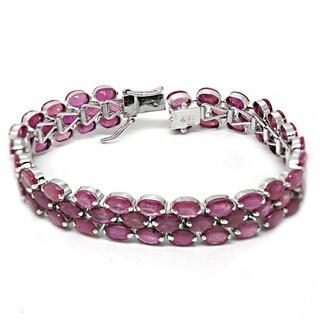 De Buman Sterling Silver Natural Ruby Hidden Clasp Bracelet