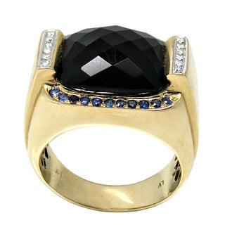 De Buman 14k Yellow Gold Men's Agate Sapphire and Diamond Accent Ring (Size 10)
