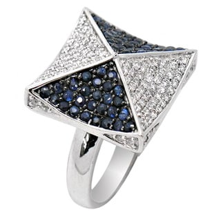 De Buman 14K White Gold Genuine Sapphire and 3/4ct TDW Diamond Ring (H-I, I1-I2)