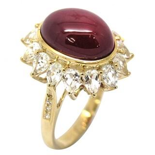 De Buman 10K Yellow Gold Genuine White Topaz Ring