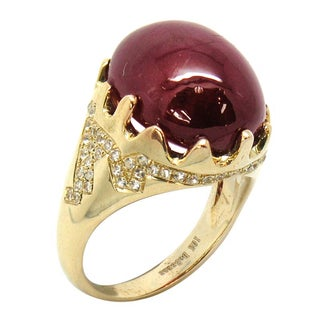 De Buman 10K Yellow Gold Genuine Ruby and White Topaz Ring
