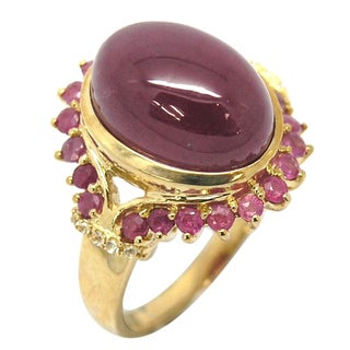 De Buman 10K Yellow Gold Genuine Ruby and White Topaz Accent Ring