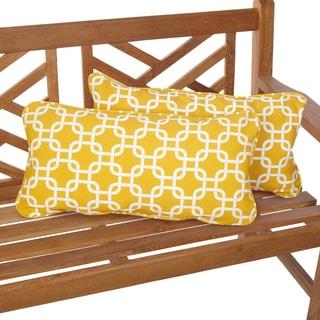 Penelope Yellow 12 x 24 Inch Indoor/ Outdoor Lumbar Pillows (Set of 2)