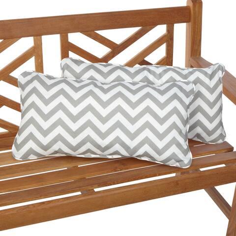 Chevron Grey 12 x 24 Inch Indoor/ Outdoor Lumbar Pillows (Set of 2)