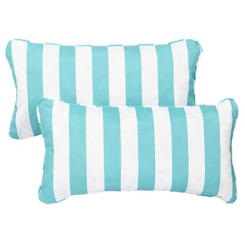Aqua Stripe Corded 12 x 24 Inch Indoor/ Outdoor Lumbar Pillows (Set of 2)
