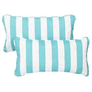 Aqua Stripe Corded 12 x 24 Inch Indoor/ Outdoor Lumbar Pillows (Set of 2)