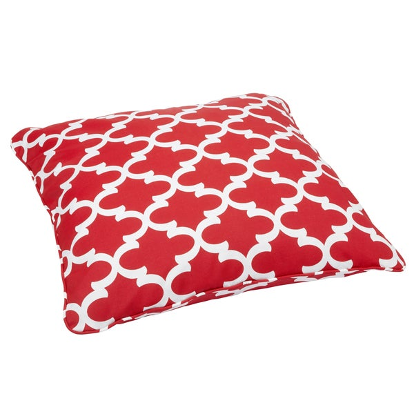 Scalloped Red Corded Outdoor/ Indoor Large 26-inch Floor Pillow