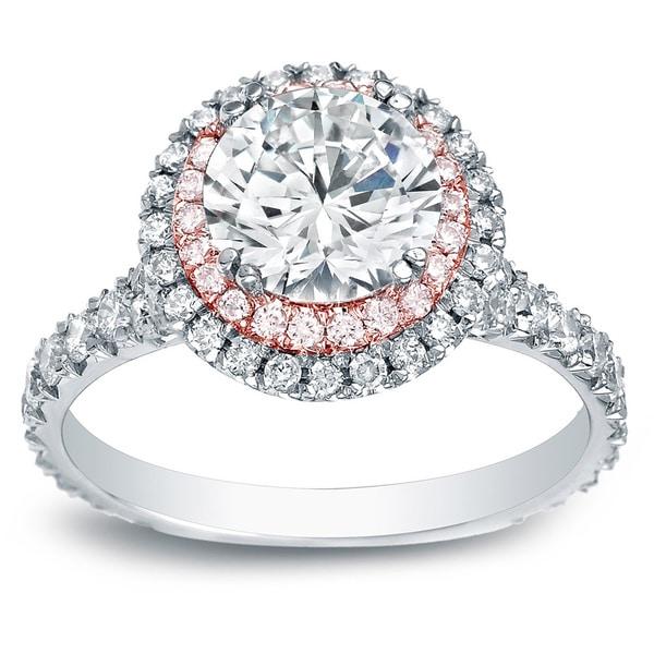 Auriya 14k Gold 2ct TDW Certified White Diamond Halo Engagement Ring (H-I, SI1-SI2)