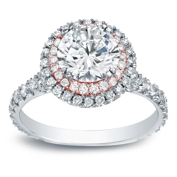 Auriya 14k Two-Tone Gold 2ct TDW Certified Round Diamond Halo Engagement Ring