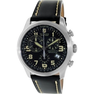 Victorinox Swiss Army Men's INFANTRY 241314 Black Leather Swiss Quartz Watch with Black Dial