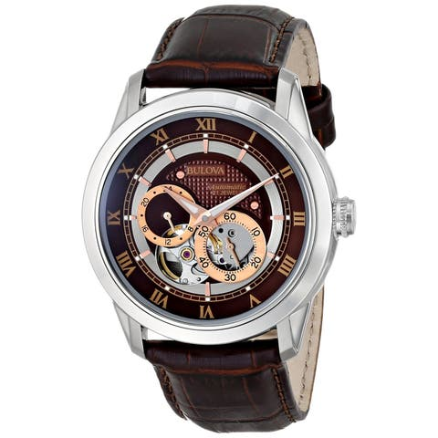 Bulova Men's Mechanical Brown Leather Automatic Watch with Brown Dial