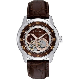 Bulova Men's Mechanical 96A120 Brown Leather Automatic Watch with Brown Dial