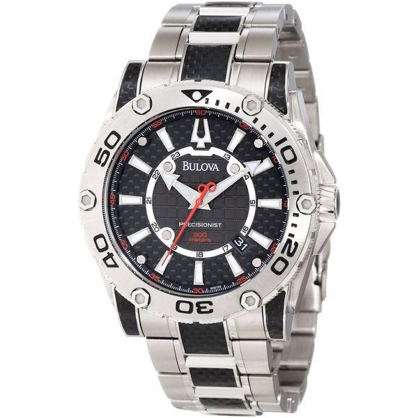 ed184a396 Bulova Men's 96B156 Precisionist Two Tone Stainless Steel Bracelet  Black Dial Watch
