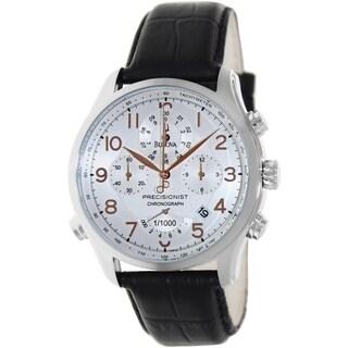 Bulova Men's Precisionist Black Leather Strap Silvertone Dial Watch