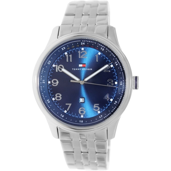 1fac4508 Shop Tommy Hilfiger Men's 1710308 Silver Stainless-Steel Analog Quartz Watch  with Blue Dial - Free Shipping Today - Overstock - 8606955