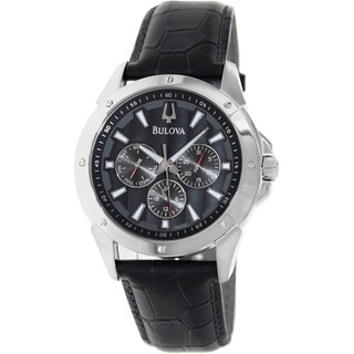 Bulova Men's Sport Black Leather Strap Grey Dial Watch