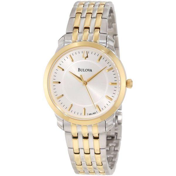 Bulova Women's 98L160 Thin Two-Tone Bracelet Silvertone Dial Watch