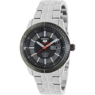 Seiko Men's 5 Silvertone Stainless-Steel Bracelet Black Dial Watch