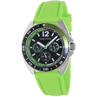 Nautica Men's Sport Ring Green Silicone Strap Black Dial Watch