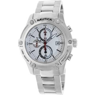 Nautica Men's Silvertone Stainless-Steel Bracelet White Dial Watch